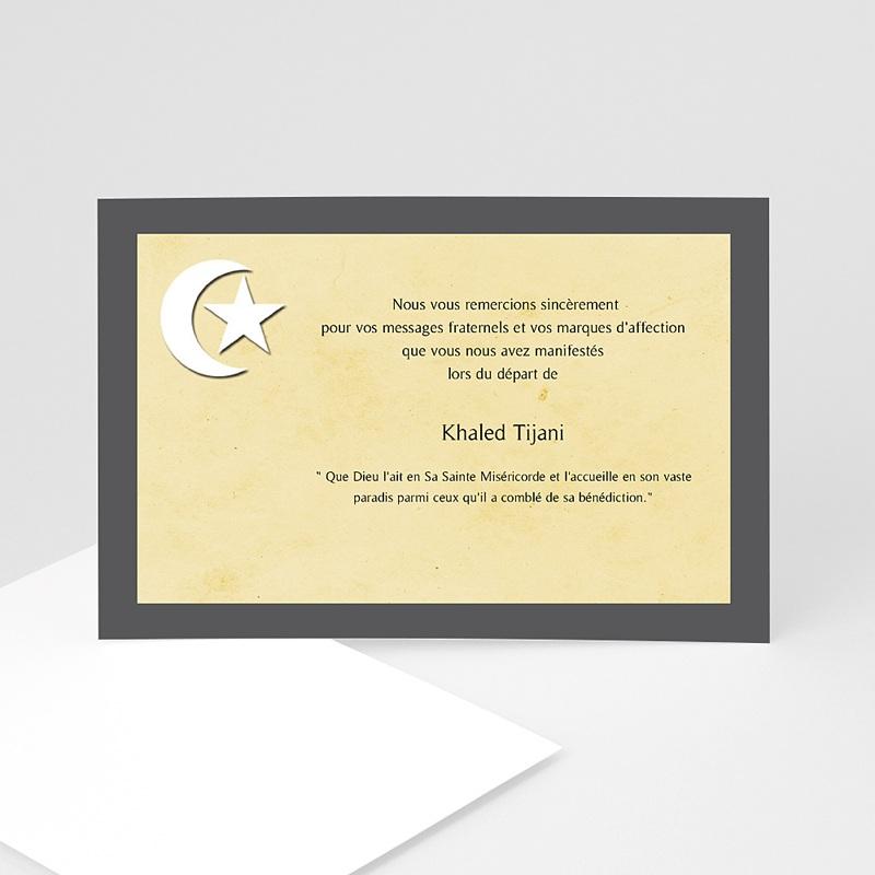 Carte Remerciement Décès Musulman Croissant de lune beige et Etoile