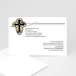Carte remerciement décès chrétien Croix de lumière