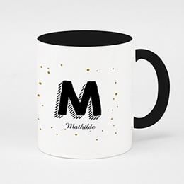 Mug de couleur Initiale + prénom