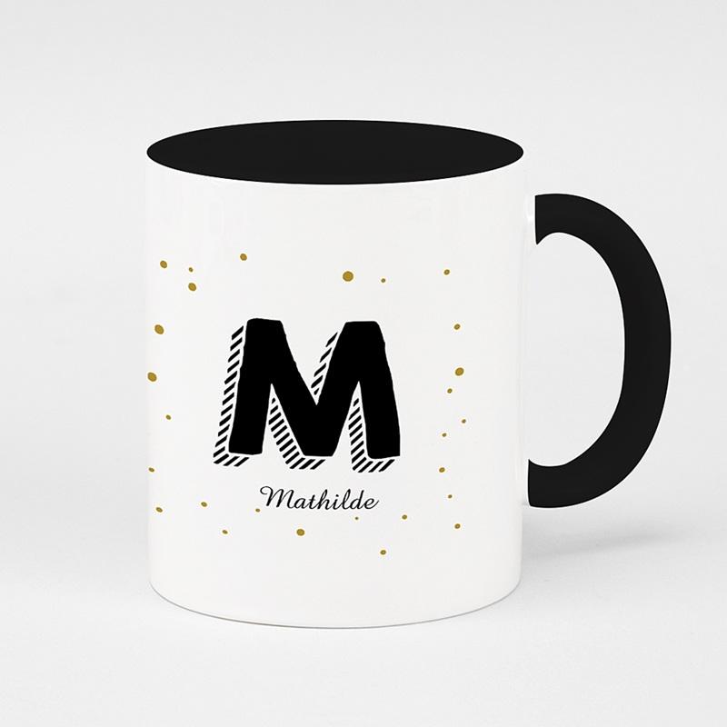 Mug Personnalisé de Couleur Initiale + prénom