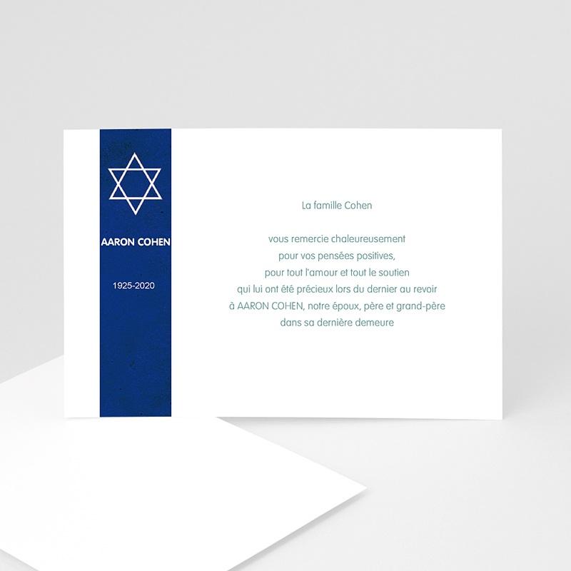 Carte remerciement décès juif Etoile tekhélèth