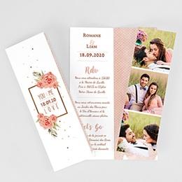 Faire-part mariage Rose Chic & Bois