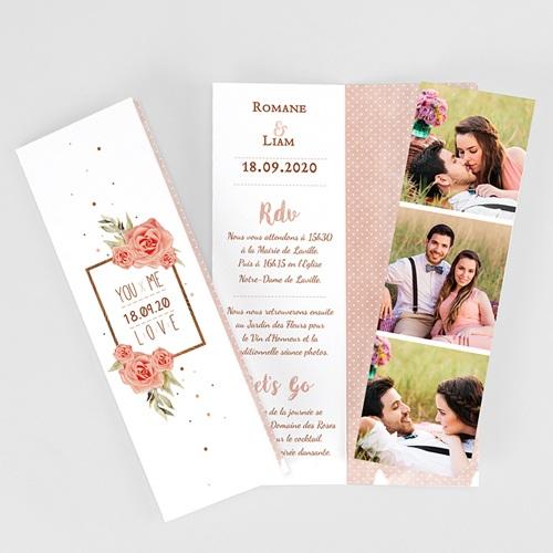 Faire-Part Mariage Personnalisés - Rose Chic & Bois 52682
