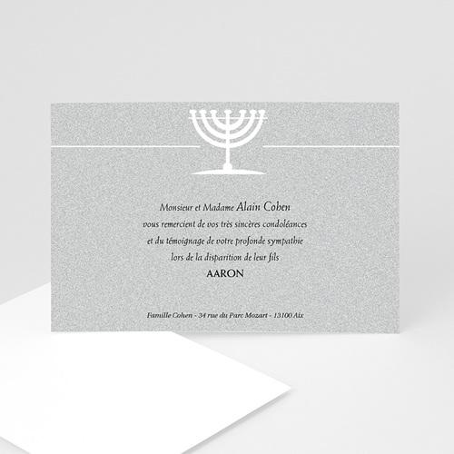 Carte Remerciement Décès Juif Menorah du Temple