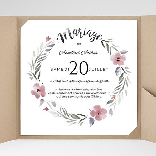 Faire-Part Mariage Pochette carré Fleurs romantiques