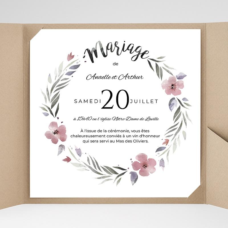 faire part mariage pochette carr fleurs romantiques. Black Bedroom Furniture Sets. Home Design Ideas