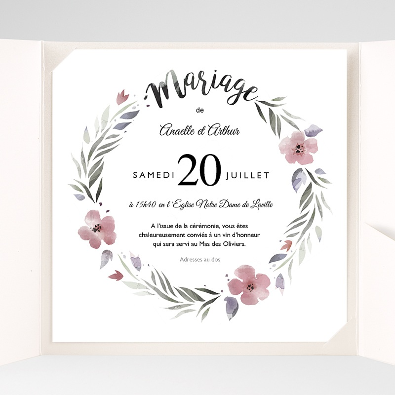 Faire-Part Mariage Pochette carré Fleurs romantiques pas cher