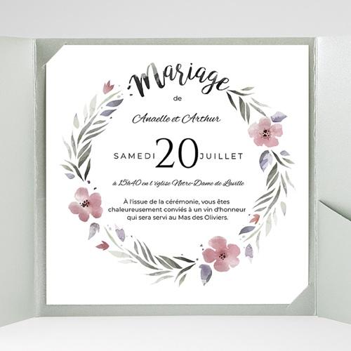 Faire-Part Mariage Pochette carré Fleurs romantiques gratuit