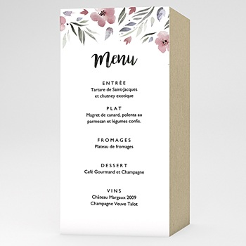 Menu de Mariage - Fleurs romantiques - 0