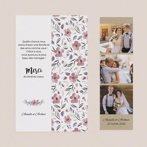 Carte Remerciements Mariage Fleurs romantiques pas cher