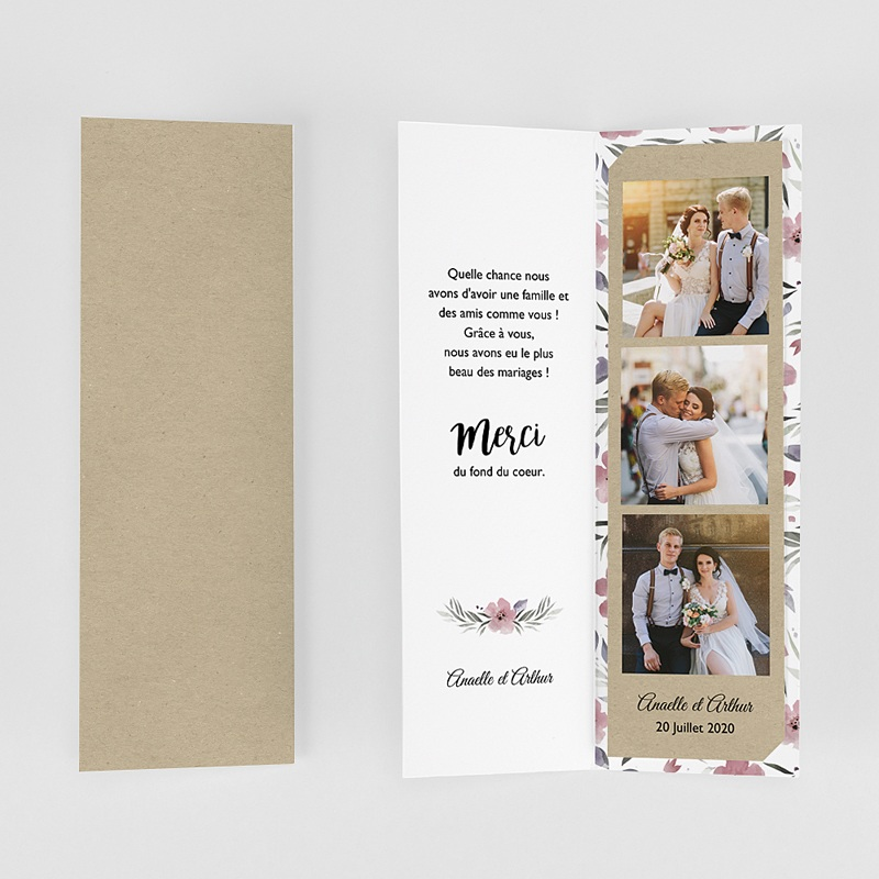 Carte Remerciements Mariage Fleurs romantiques gratuit