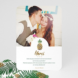 Carte Remerciements Mariage Ananas et Palmier