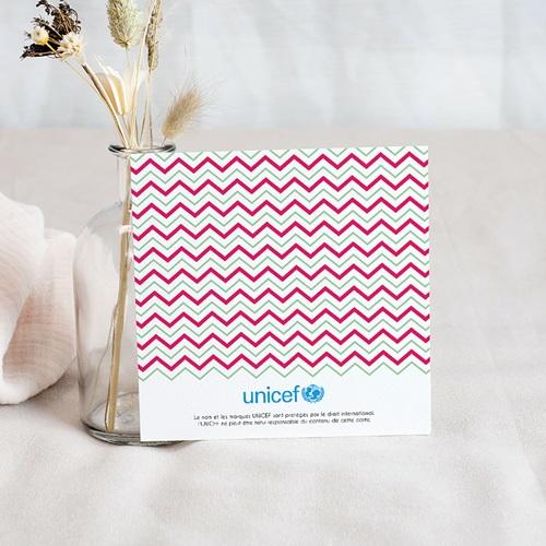 Carte Remerciement Naissance UNICEF Rose chevrons pas cher