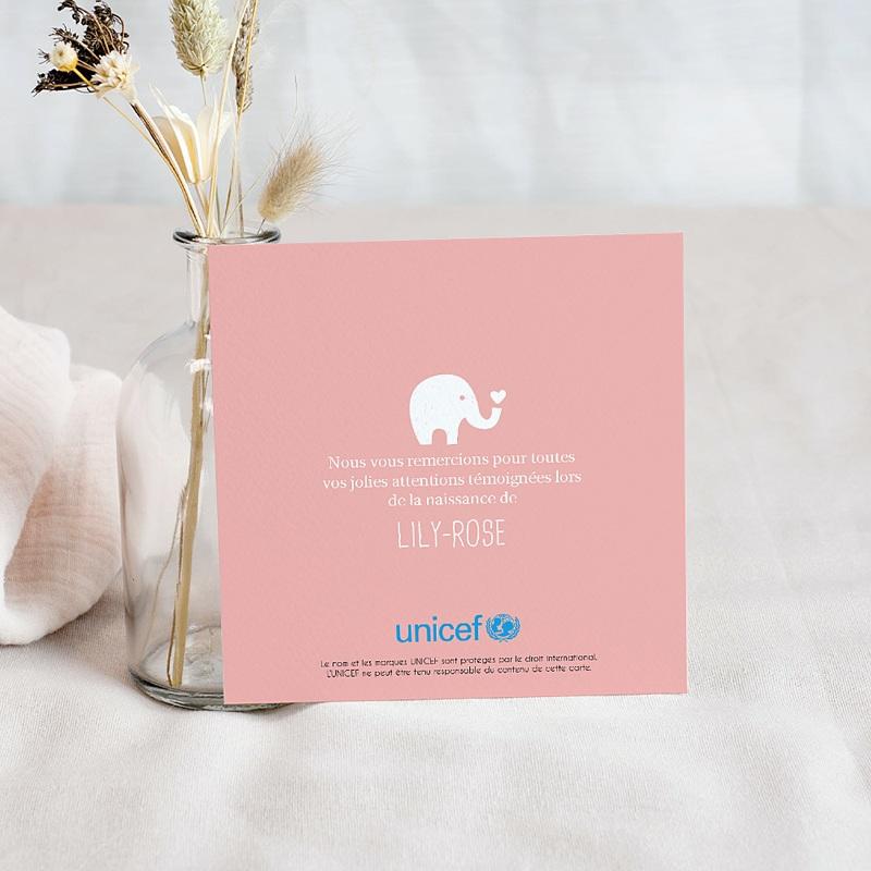 Carte Remerciement Naissance UNICEF Elephant Girl pas cher