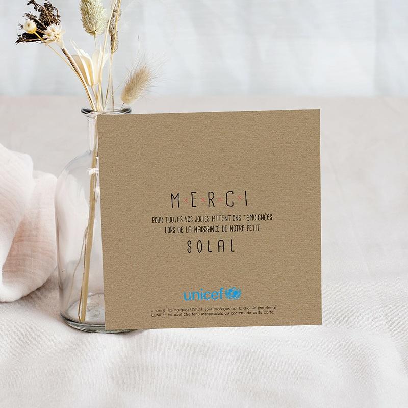 Carte Remerciement Naissance UNICEF Hibou, chou, bisou pas cher