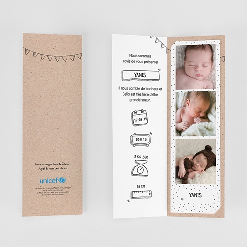 Faire-Part Naissance Garçon UNICEF - Pictos Kraft 53279 preview