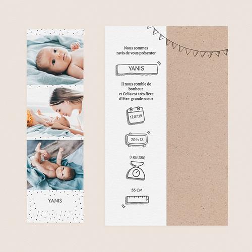 Faire-Part Naissance Garçon UNICEF Pictos Kraft gratuit