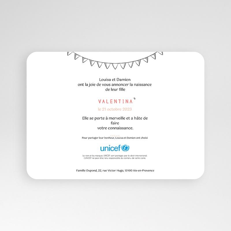 Faire-Part Naissance Fille UNICEF Bienvenue pas cher