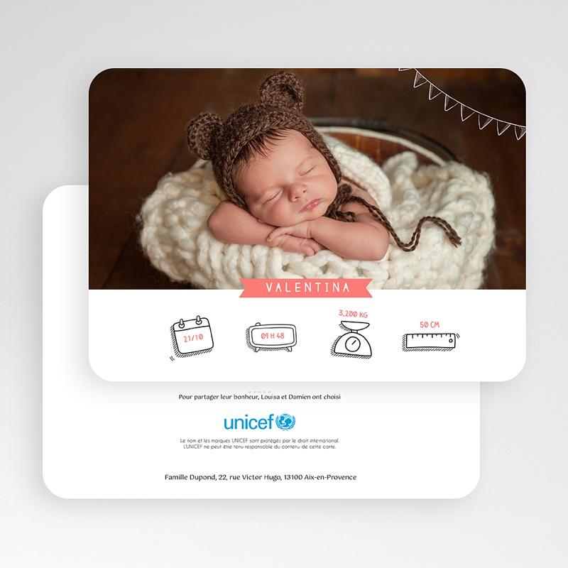 Faire-Part Naissance Fille UNICEF Bienvenue gratuit