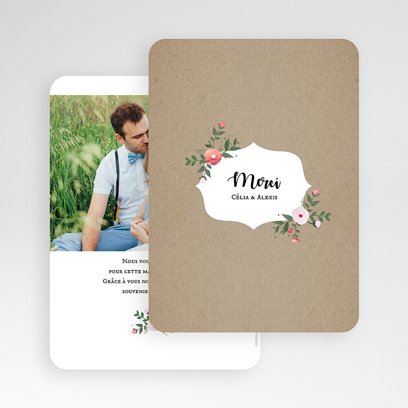 Carte Remerciements Mariage Merci fleuri gratuit