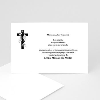 Carte remerciement décês chrétien Croix enrubannée