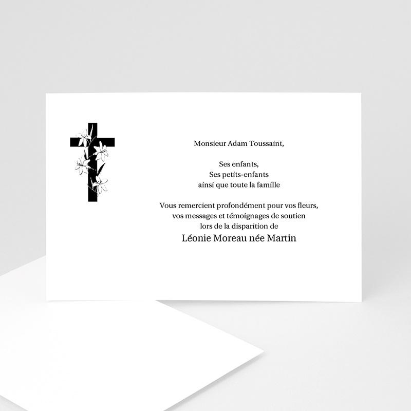 Carte remerciement décès chrétien Croix enrubannée