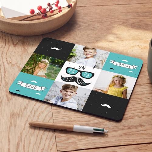 Tapis de souris personnalisé - Papa moustache 53470