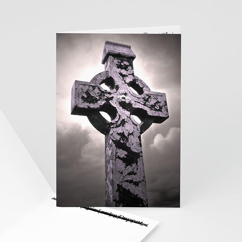 Carte Remerciement Décès Chrétien Croix Sculptée