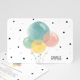Faire-Part Naissance Fille - Ballons Pastel - 0