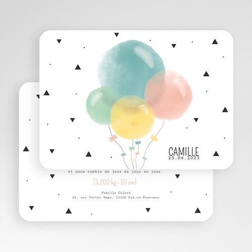 Faire-Part Naissance Fille Ballons Pastel gratuit