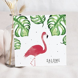 Faire-part naissance fille Flamant Rose tendresse