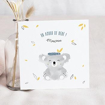 Faire-part naissance garçon Koala bleu personnalisable