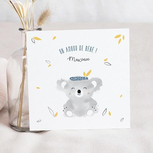 Faire-Part Naissance Garçon Koala bleu