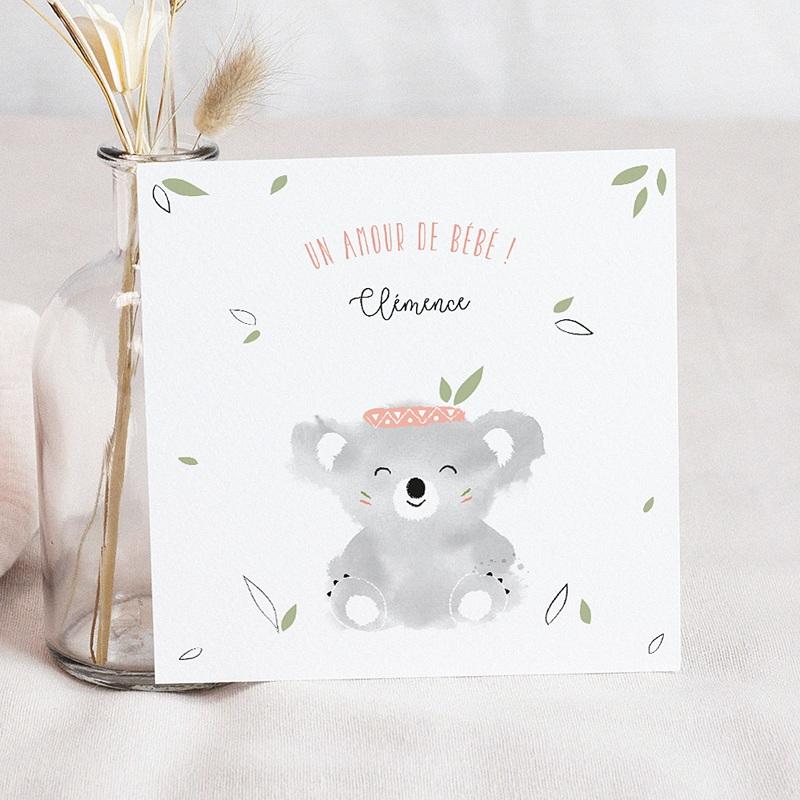 Faire-Part Naissance Fille Koala Rose
