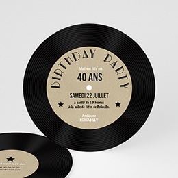 Invitations Anniversaire adulte 45T Vinyle