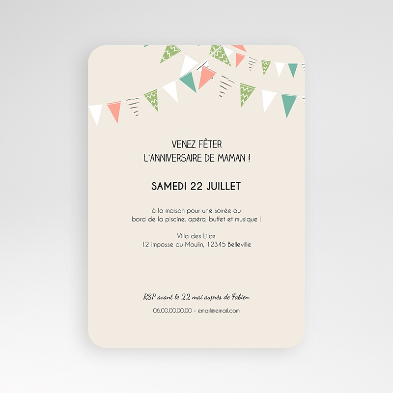 Carte Invitation Anniversaire Adulte Festive pas cher