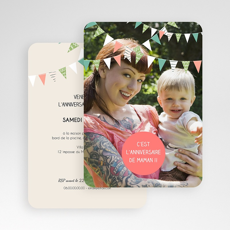 Carte Invitation Anniversaire Adulte Festive gratuit