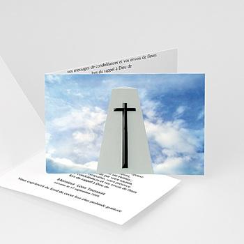 Achat carte remerciement décès chrétien croix noire sur ciel azur
