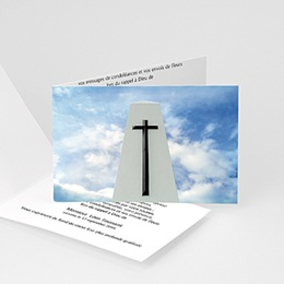 Carte remerciement décès chrétien Croix noire sur ciel azur