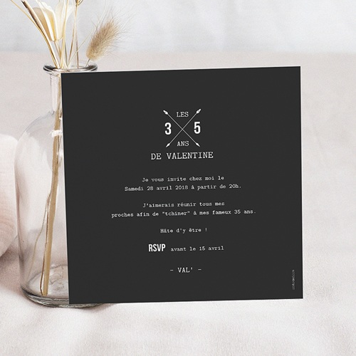 Invitation Anniversaire Adulte - Noir et Blanc 53942 preview