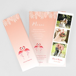 Remerciements Mariage Personnalisés Flamants Roses