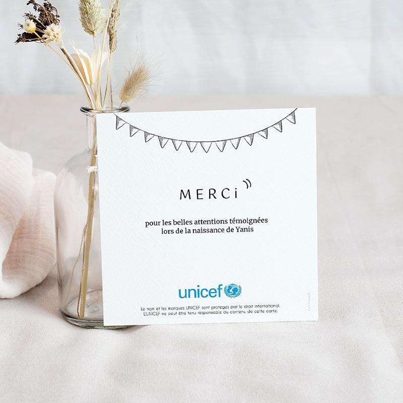 Carte Remerciement Naissance UNICEF Pictos Kraft pas cher