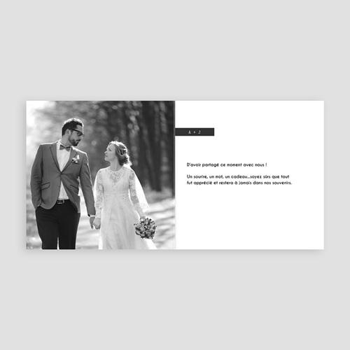 Remerciements Mariage Personnalisés Noir et blanc pas cher