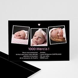 Carte remerciement naissance fille 3 photos, coeur rose