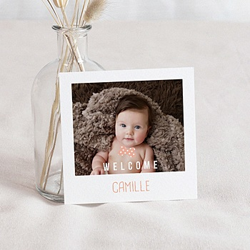 Faire part de naissance fille paula orange