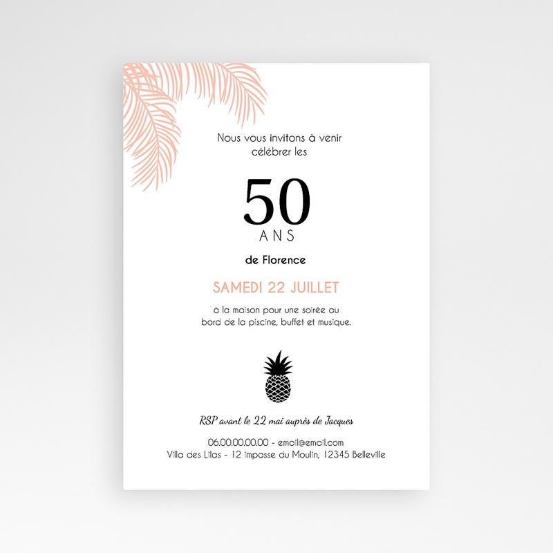 Carte Invitation Anniversaire Adulte Sous les palmiers pas cher