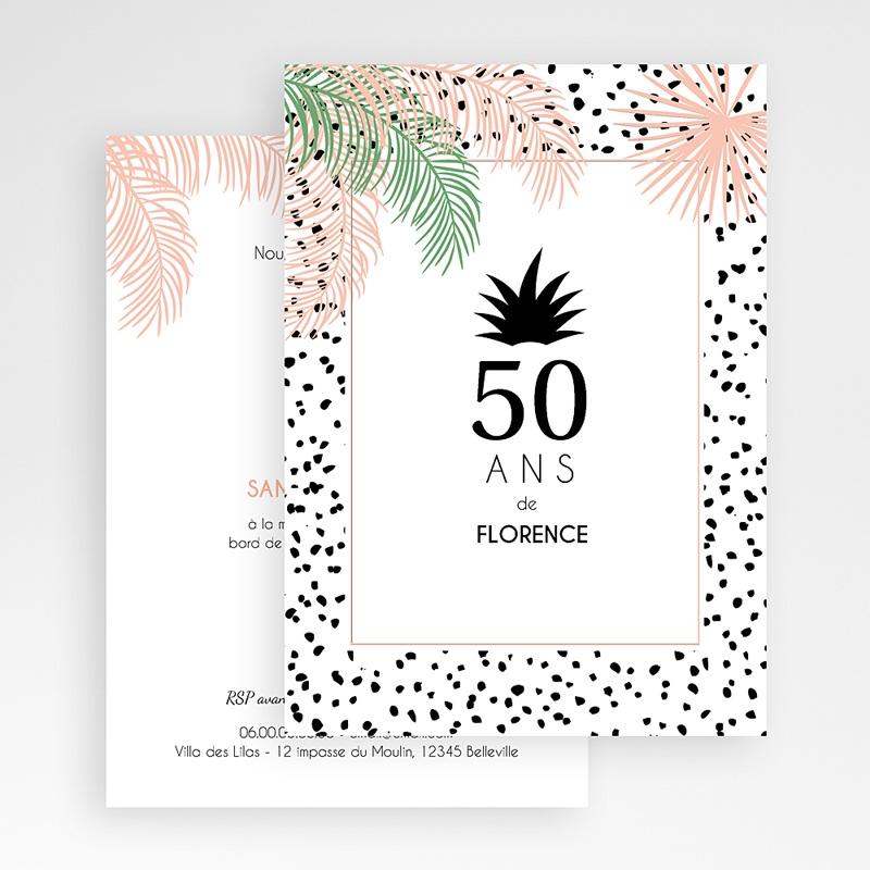 Carte Invitation Anniversaire Adulte Sous les palmiers gratuit