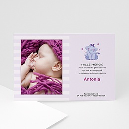 Carte remerciement naissance fille L'éléphanteau à la fleur rose