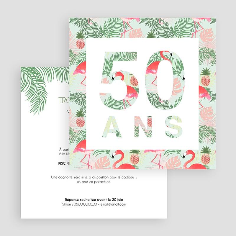 Carte invitation anniversaire adulte Tropical gratuit