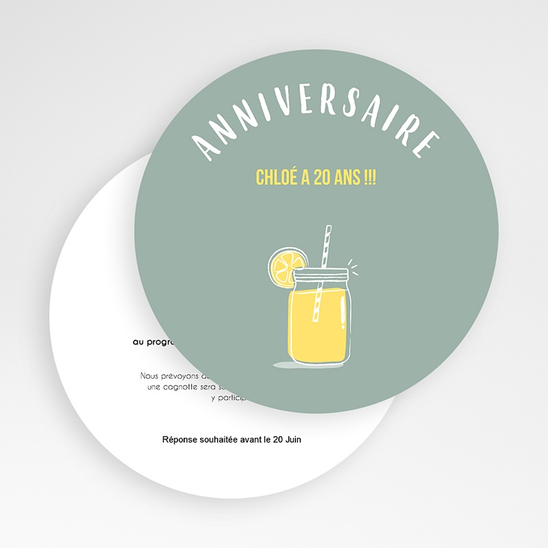 Invitation Anniversaire Adulte - Bar à limonade 54226 thumb